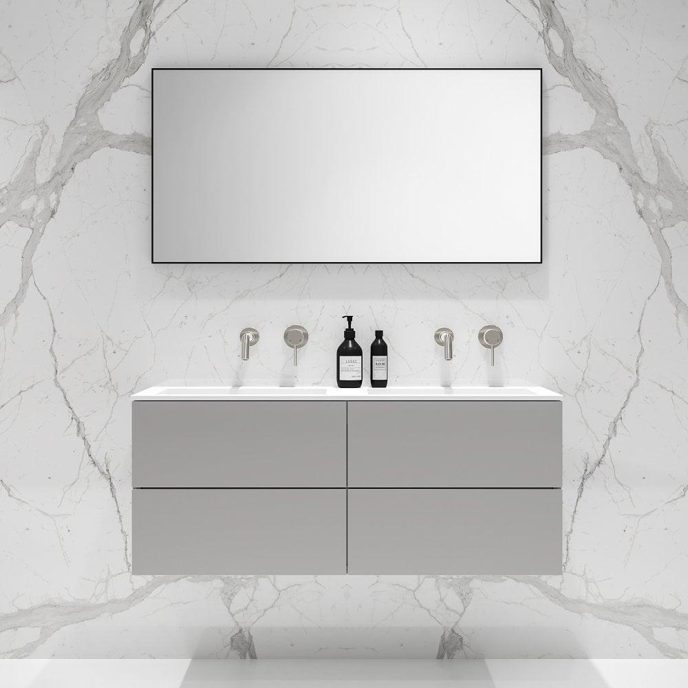 Grey Double Vanity Unit Wall Mounted Grey Vanity Unit