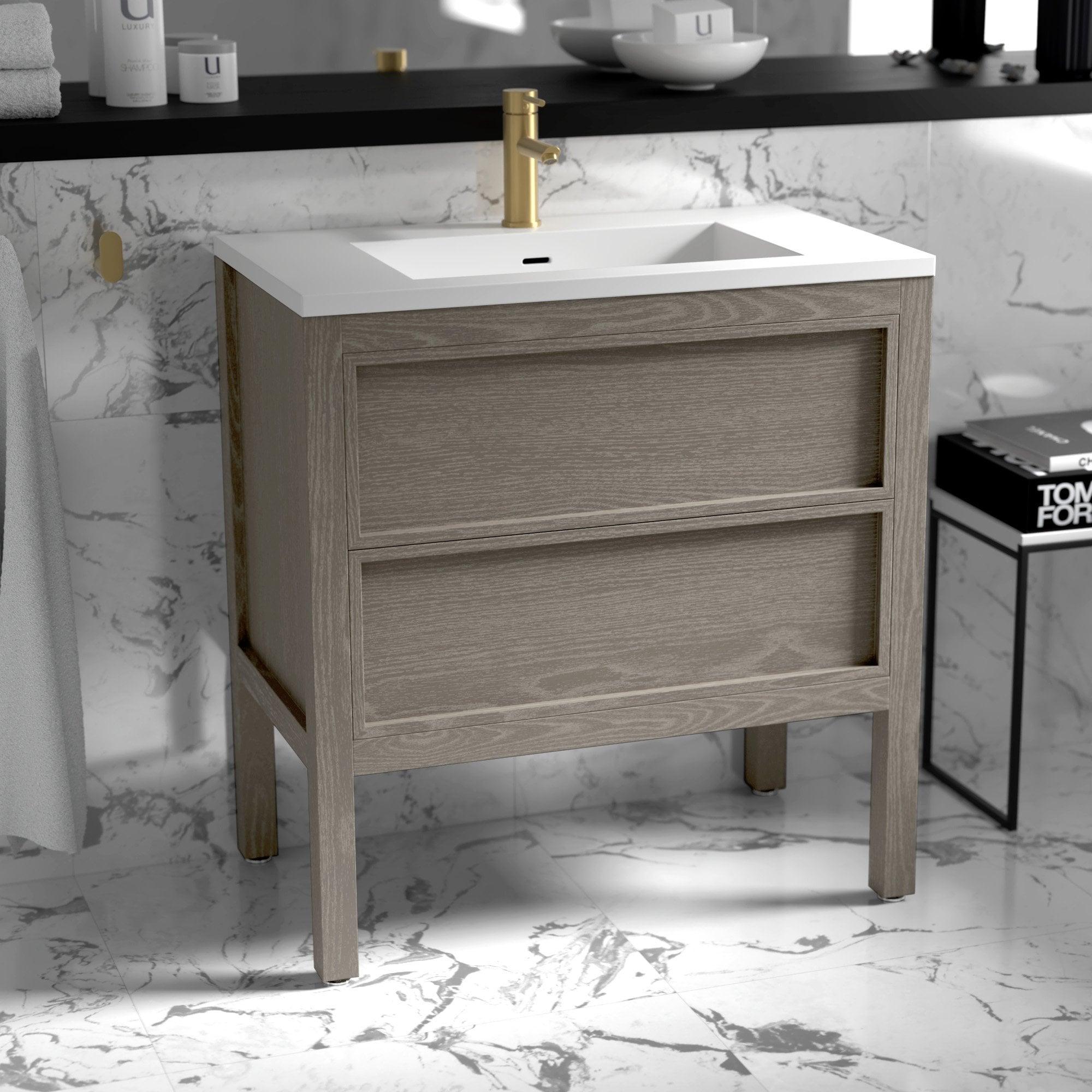 Lusso Claridge Grey Oak Bathroom Freestanding Vanity Unit 800