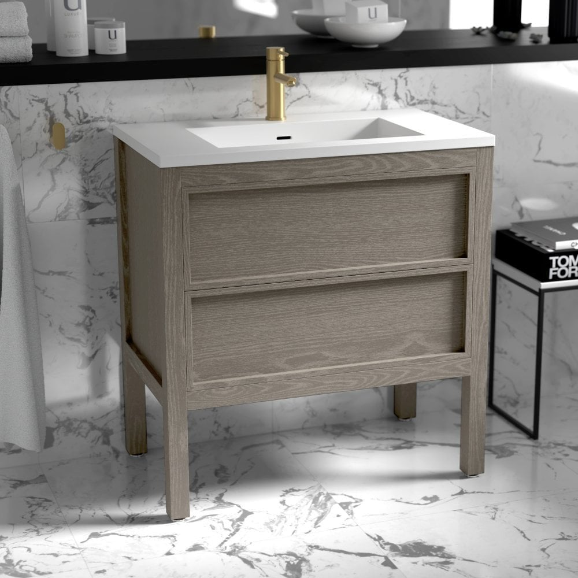 Freestanding Grey Oak Bathroom Vanity Unit Real Oak Design
