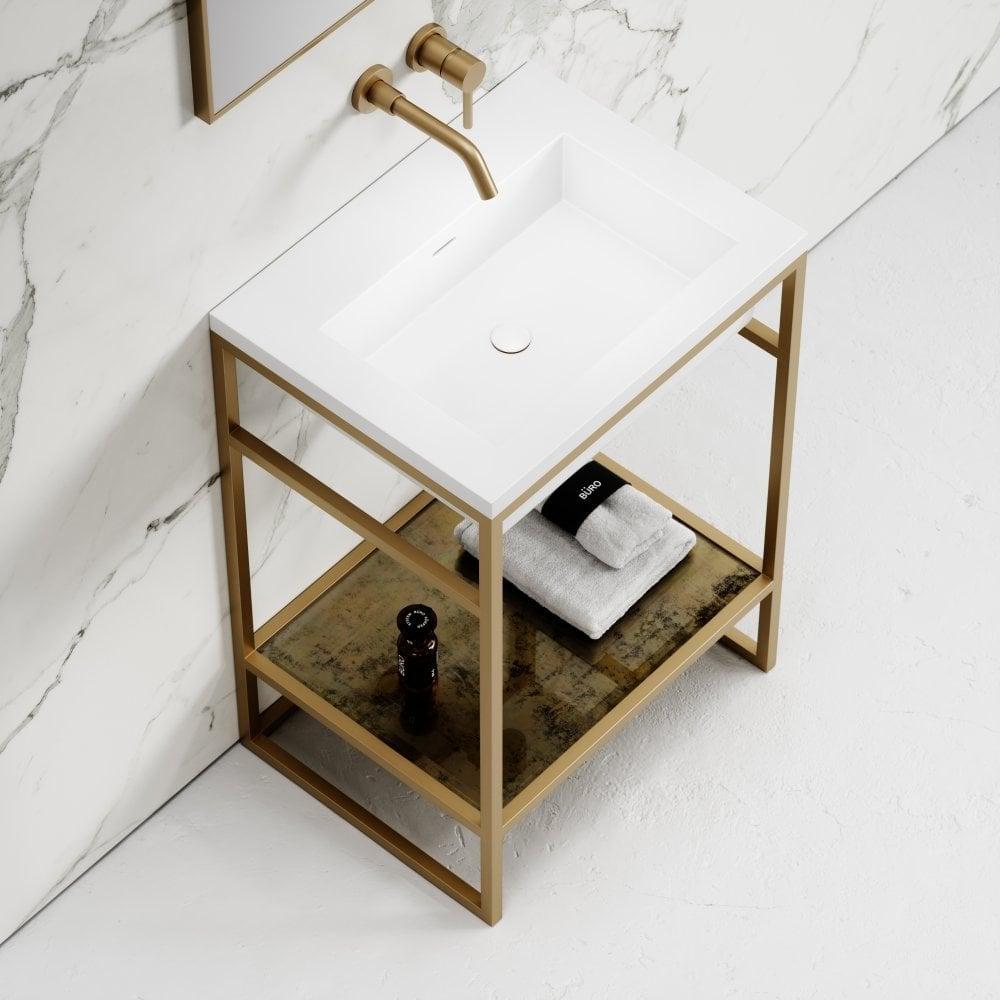 Deco Brushed Gold Frame Freestanding Bathroom Vanity Unit 600 Vanity Units