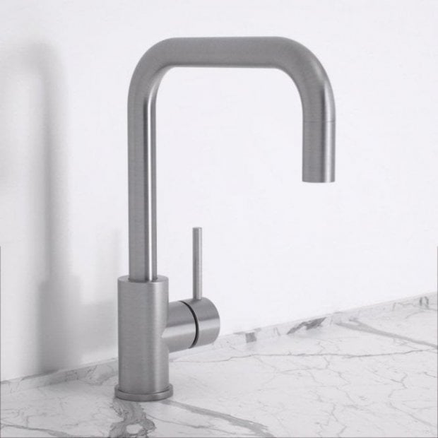 Lusso Flow Single Lever Kitchen Mixer Tap - Brushed Stainless