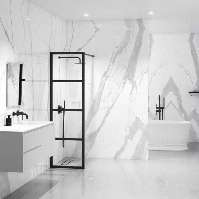 Industrial Shower Screen Matte Black Shower Screens