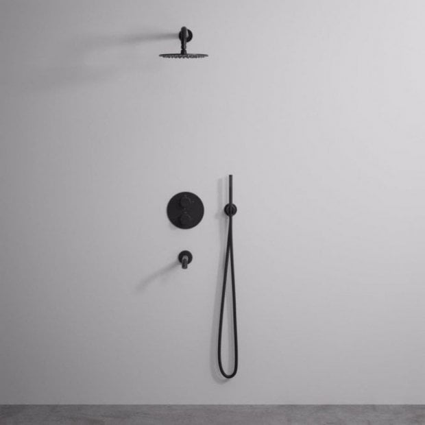 Lusso Luxe 3-Way shower set with Thermostatic valve Hand-held shower & Spout matte black