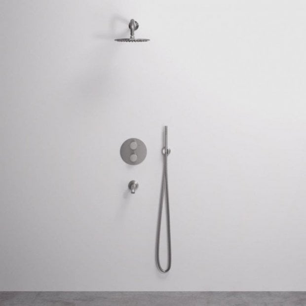 Lusso Luxe 3-Way shower set with Thermostatic valve Hand-held shower & Spout Stainless