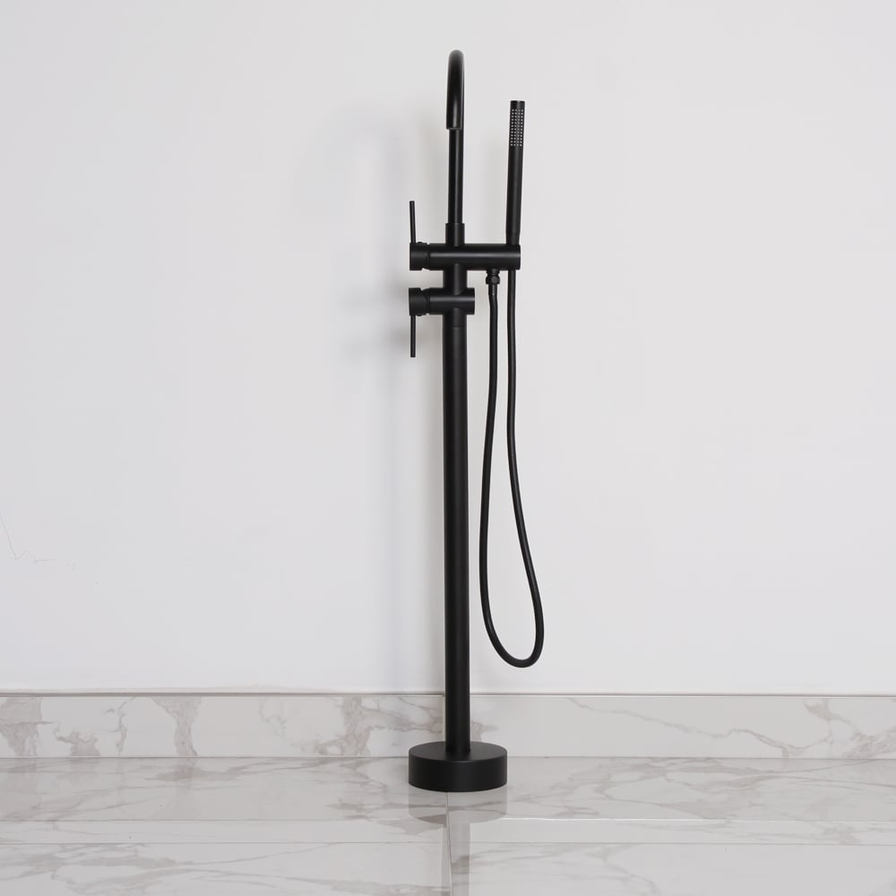 Lusso Luxe Floor Standing Bath Shower Mixer Tap Matte black | Taps