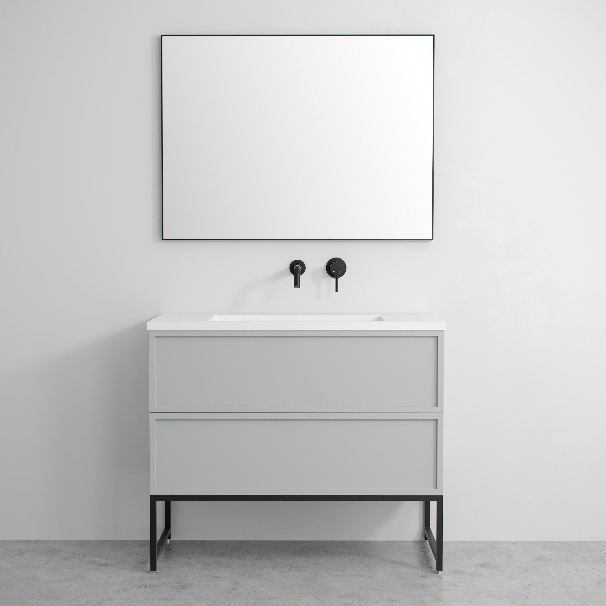 Luxe Mirror with Slimline Matte Black Metal Frame 1000 ...