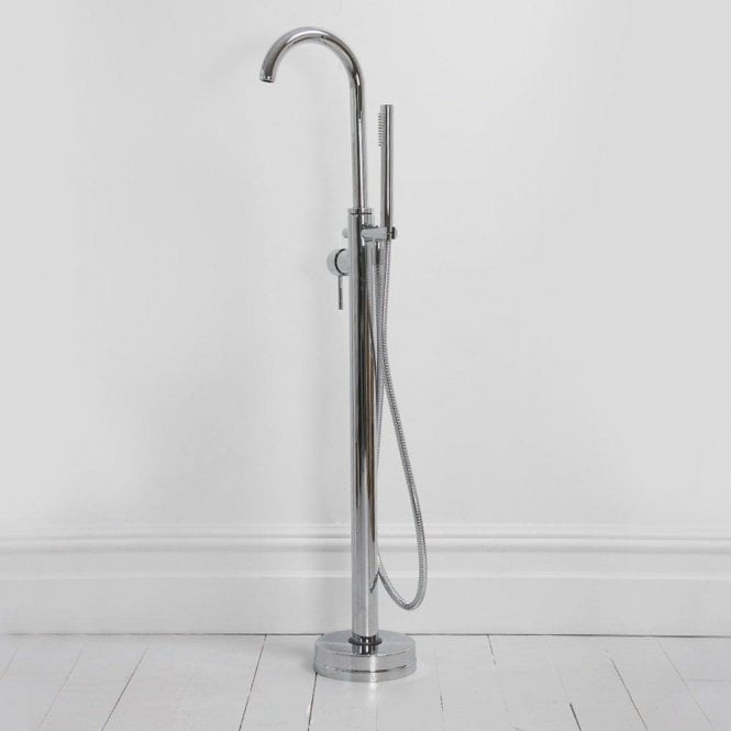 Lusso Luxe Modern Freestanding Floor Standing Single Lever Chrome Bath Shower Mixer Tap