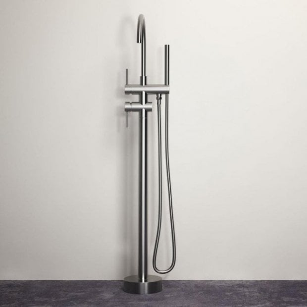 Lusso Luxe Series Floor Standing Bath Shower Mixer Tap Brushed Stainless