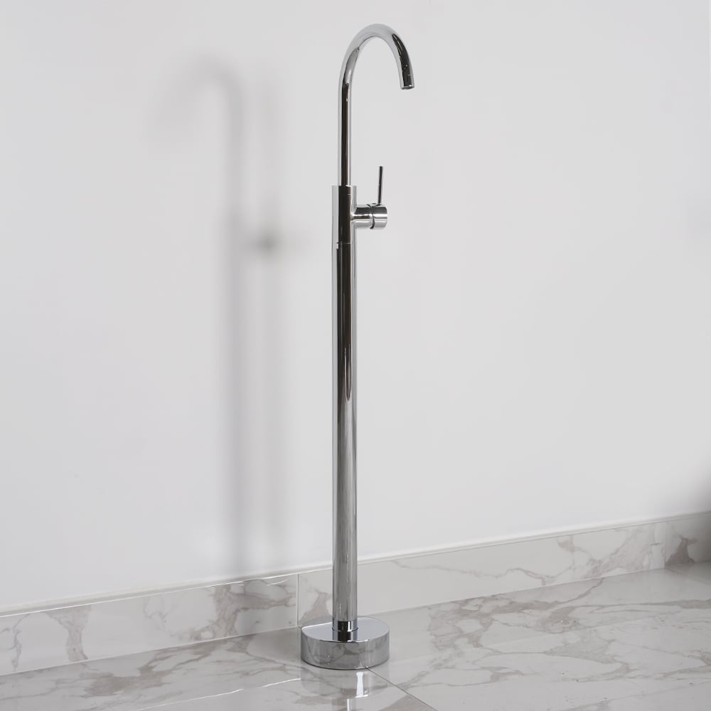 Lusso Luxe Modern Freestanding Single Lever Chrome Basin Mixer Tap ...