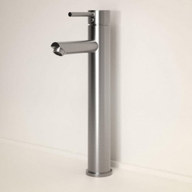 Lusso Luxe Series Tall High Neck Basin Mixer Tap Brushed Stainless