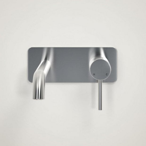 Lusso Luxe Series Wall Mounted Basin Mixer Tap Brushed Stainless