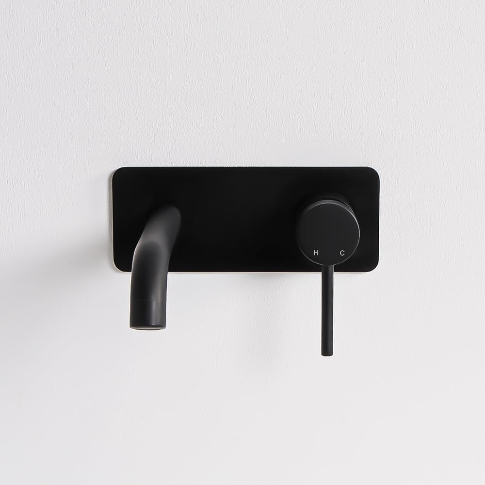 Lusso Luxe Series Wall Mounted Basin Mixer Tap Matte Black
