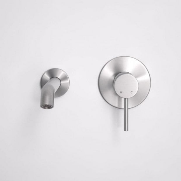 Lusso Luxe Series Wall Mounted Bath Mixer Tap Valve & Spout Brushed Stainless