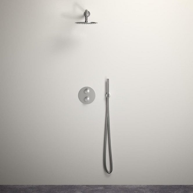 Lusso Luxe shower set with Thermostatic valve and Hand-held shower Brushed Stainless