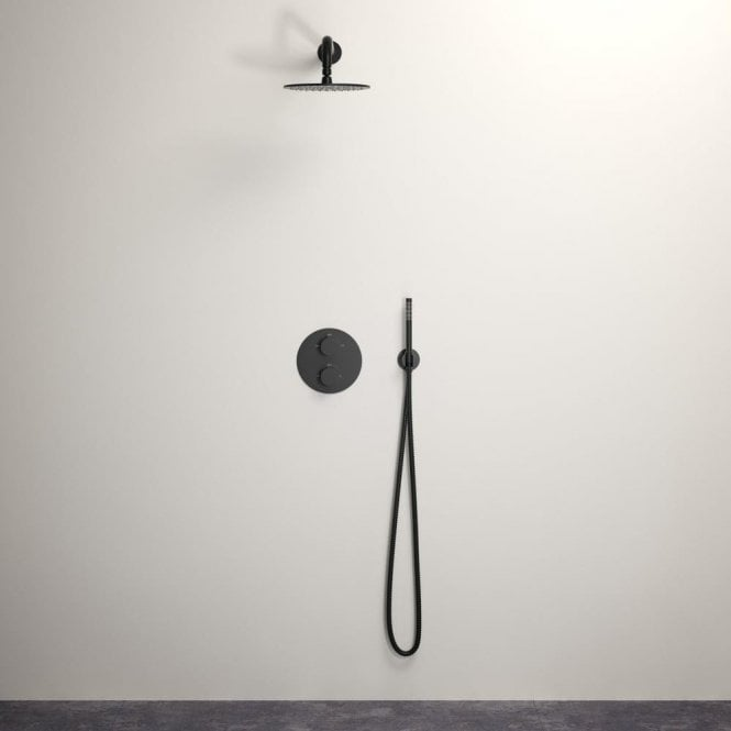 Lusso Luxe shower set with Thermostatic valve and Hand-held shower matte black