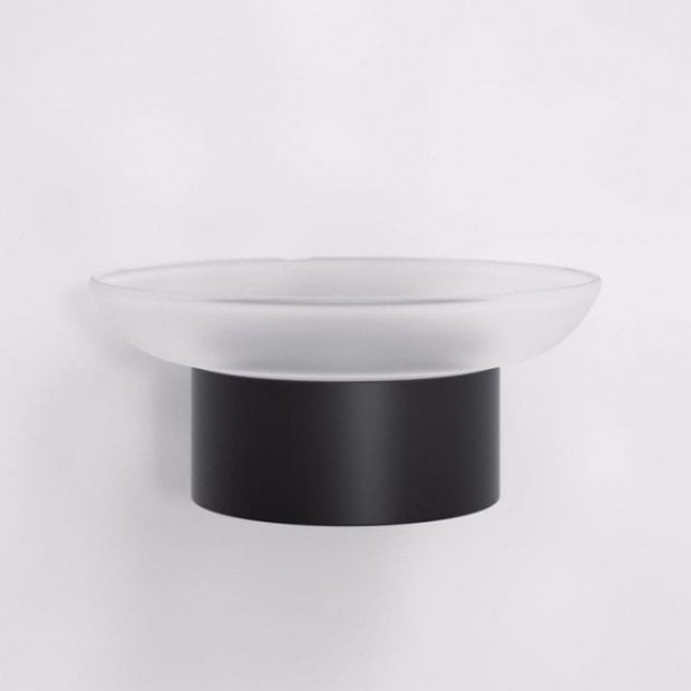 Lusso Luxe Soap Dish & Holder Matte Black And Frosted Glass