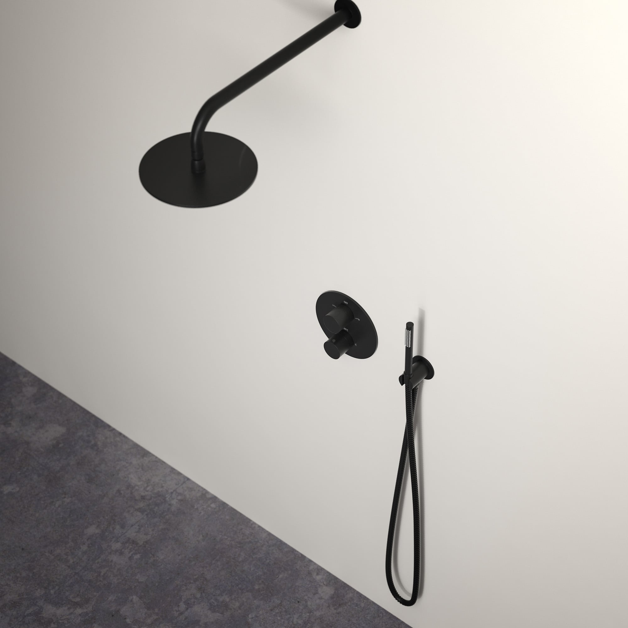 Lusso Luxe Thermostatic Shower Set With Handheld Shower Matte Black
