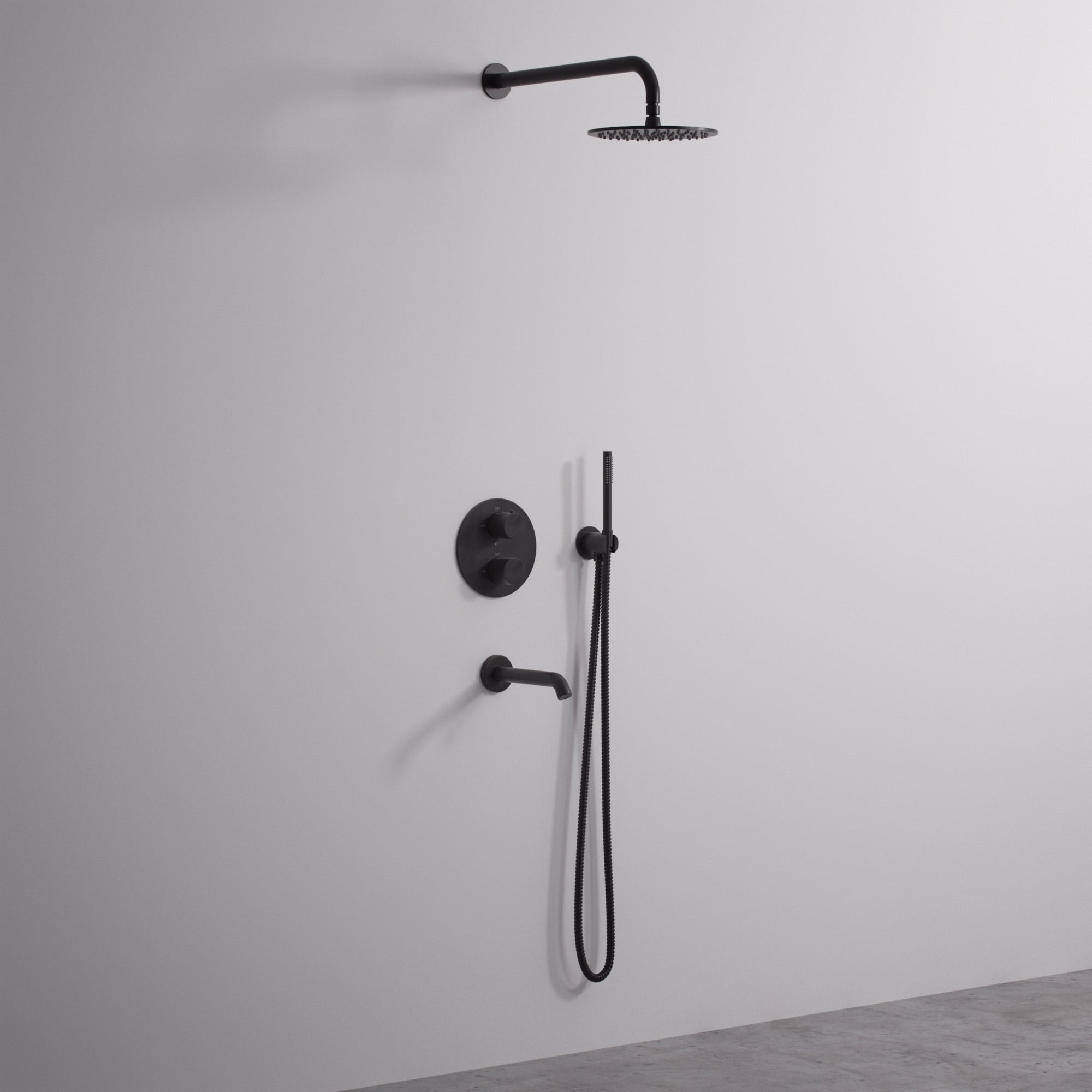 Lusso Luxe Three Way Thermostatic Shower Set With Handheld Shower Spout Matte Black