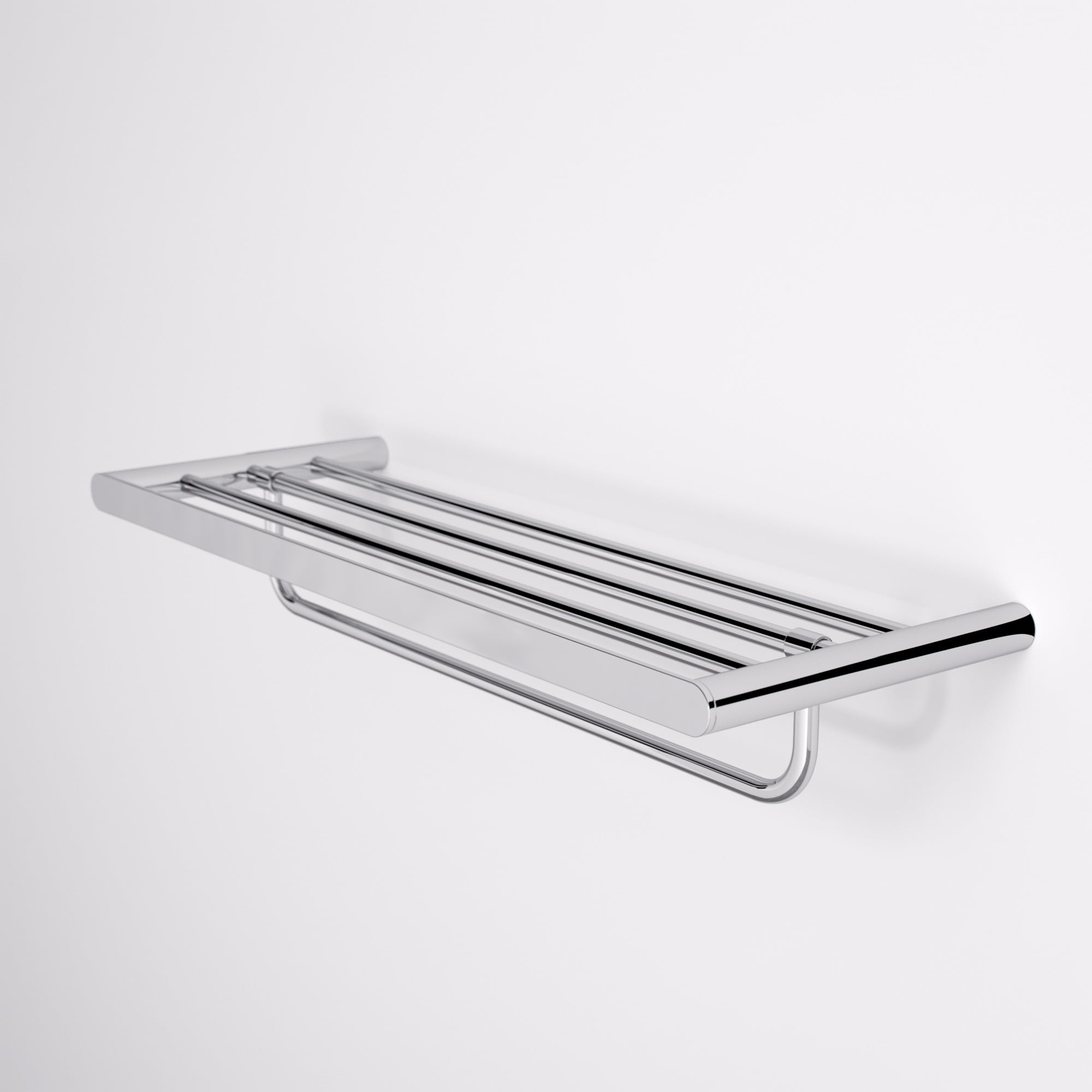 Lusso Luxe Towel Shelf With Rail Chrome 600 | Accessories
