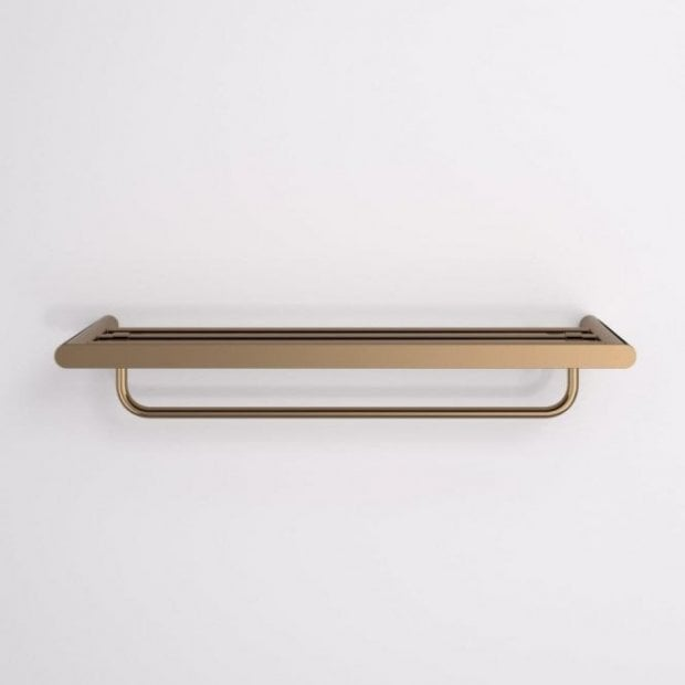 Lusso Luxe Towel Shelf With Rail Rose Gold 600