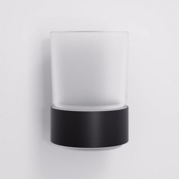 Lusso Luxe Tumbler & Holder Matte Black And Frosted Glass
