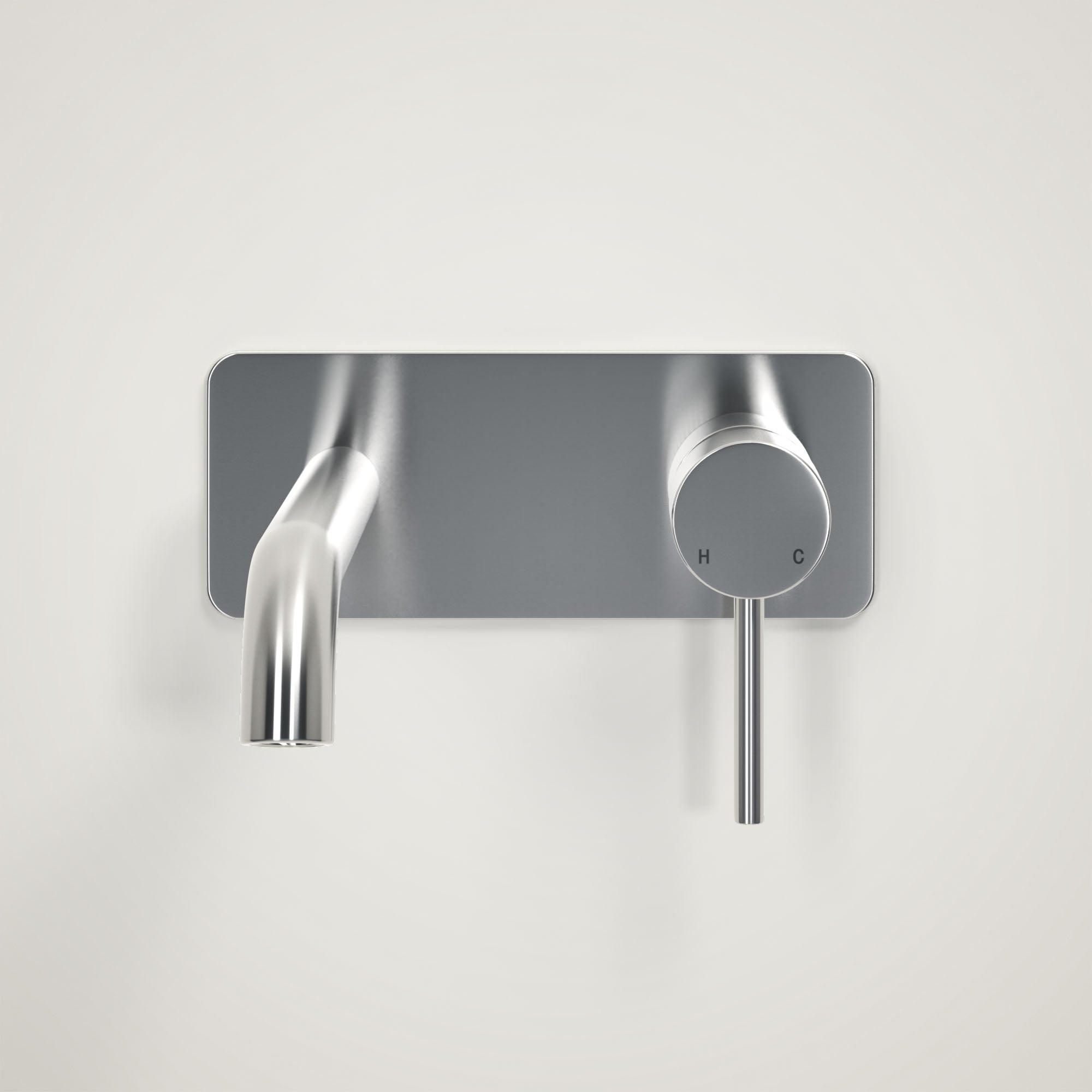 Lusso Luxe Wall Mounted Basin Mixer Tap Brushed Stainless