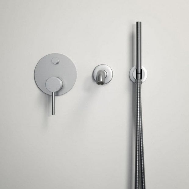 Lusso Luxe Wall mounted bath tap with valve and Handheld shower kit brushed stainless