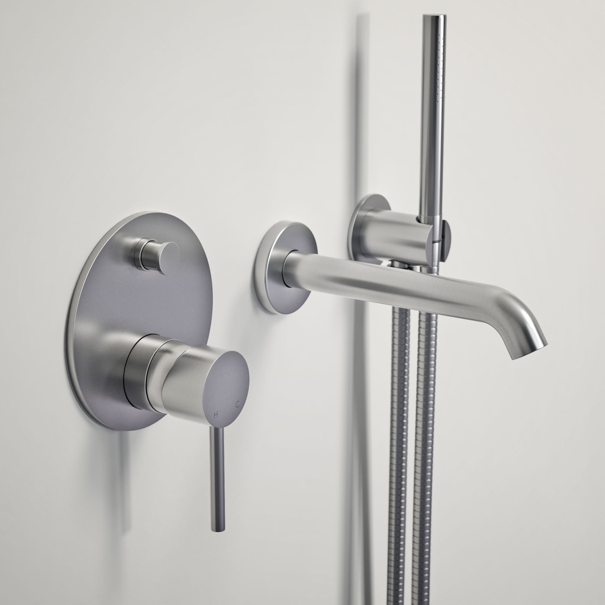 Lusso Luxe Wall mounted bath tap with valve and Handheld shower kit ...
