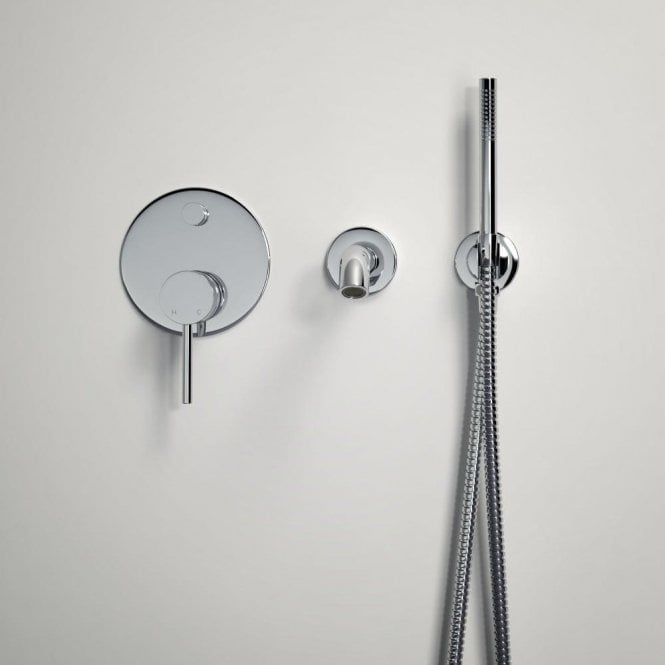 Lusso Luxe Wall mounted bath tap with valve and Handheld shower kit chrome