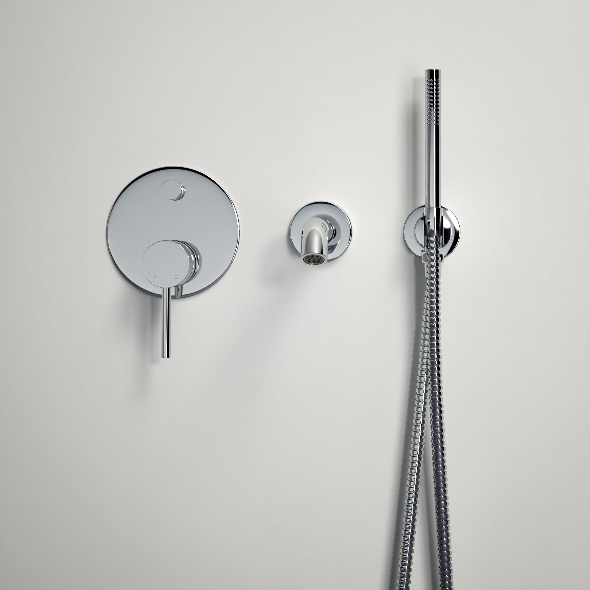 Lusso Luxe Wall Mounted Bath Tap With Valve And Handheld Shower Kit