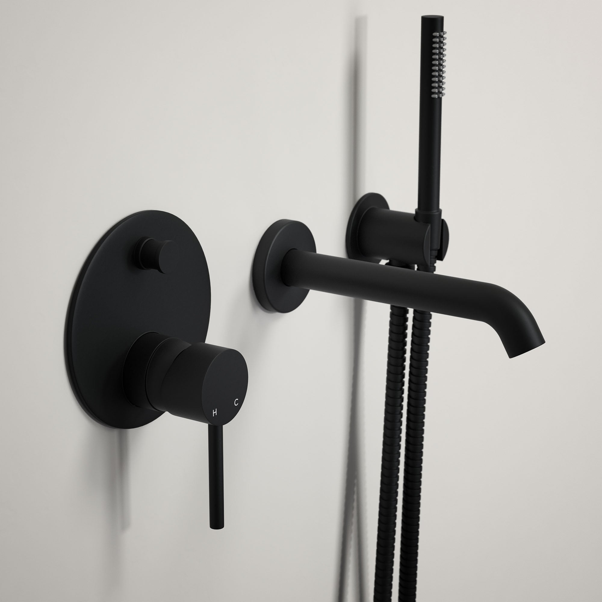 lusso luxe wall mounted bath tap with valve and handheld shower lusso luxe wall mounted bath tap with valve and handheld shower kit matte black