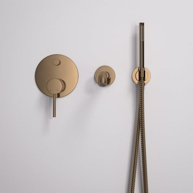 Lusso Luxe Wall mounted bath tap with valve and Handheld shower kit Rose Gold