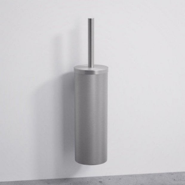 Lusso Luxe Wall Mounted Toilet Brush & Holder Brushed Stainless
