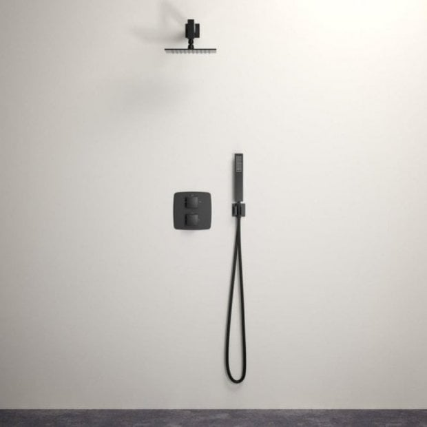 Lusso Mia shower set with Thermostatic valve and Hand-held shower matte black