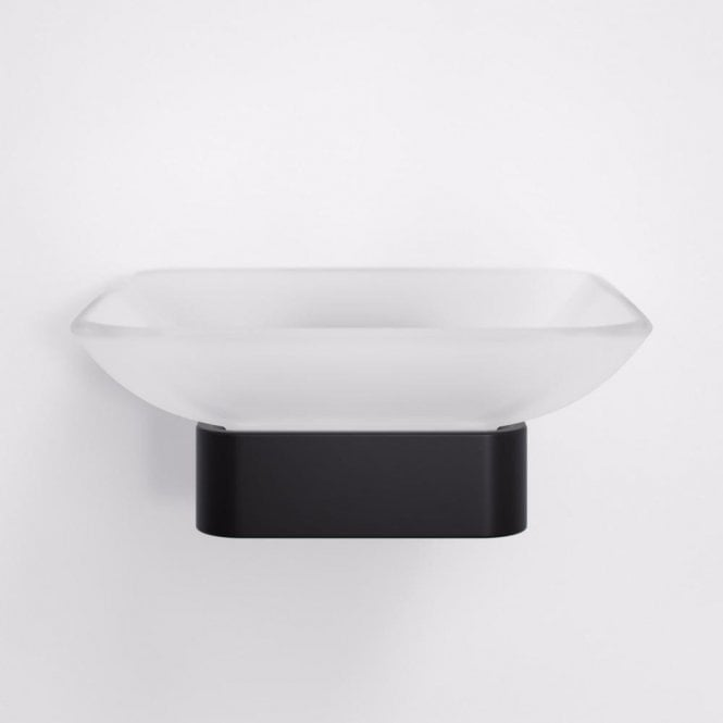 Lusso Mia Soap Dish & Holder Matt Black and Glass
