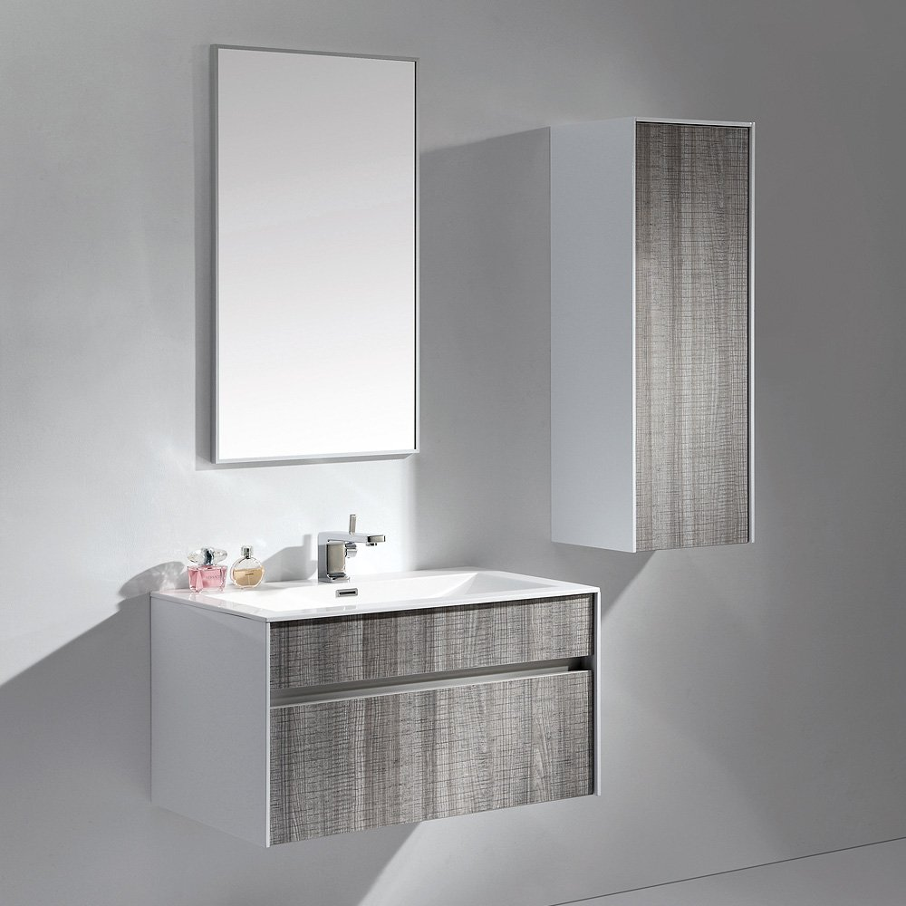 Lusso Mirage Grey Designer Wall Mounted Bathroom Vanity Unit 800