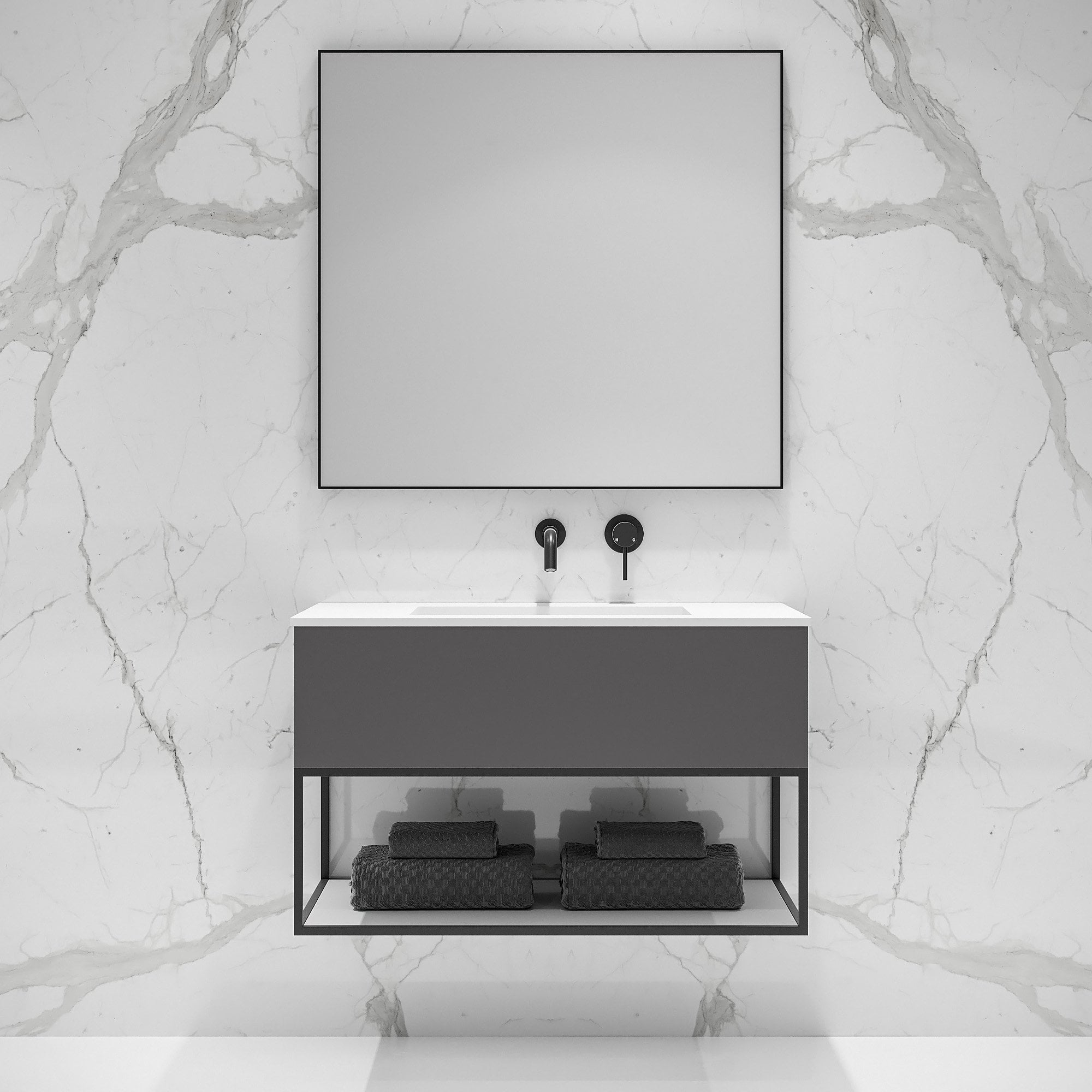 Lusso Modus Matte Anthracite And Black Steel Framed Bathroom Vanity Unit 900 Vanity Units