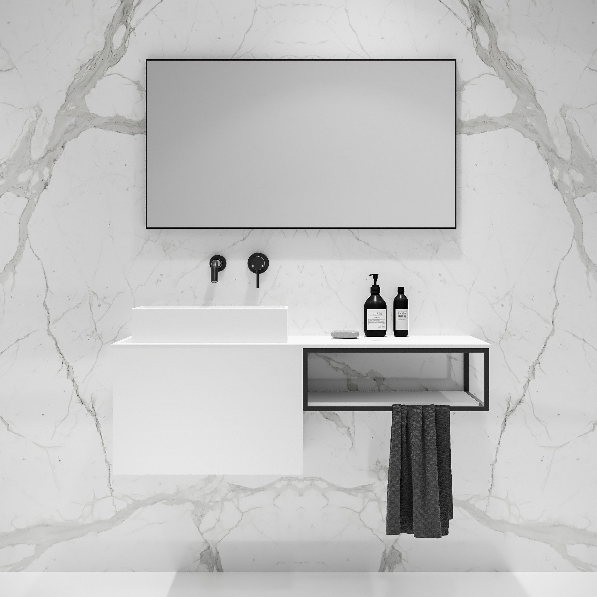 Lusso Modus Matte White And Black Steel Framed Bathroom