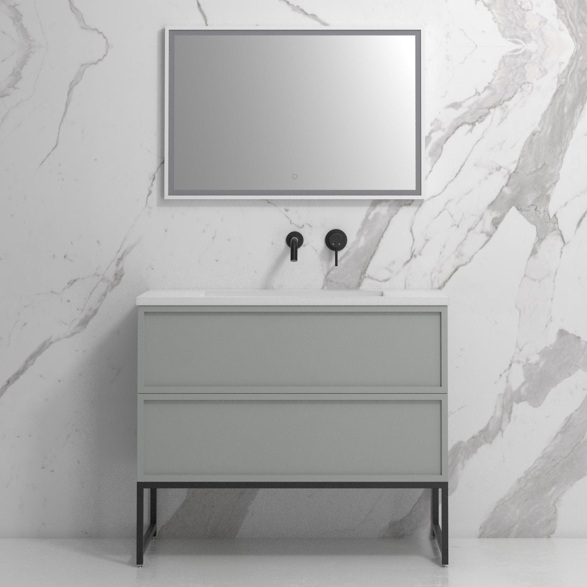 Lusso Piana 1000 Matte Grey And Black Steel Framed