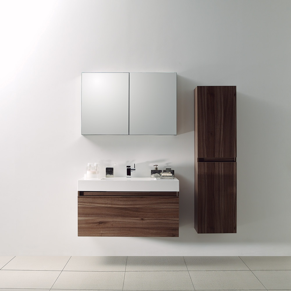 Lusso Stone Bagno Walnut Designer Bathroom Wall Mounted Vanity Unit 1000 Units