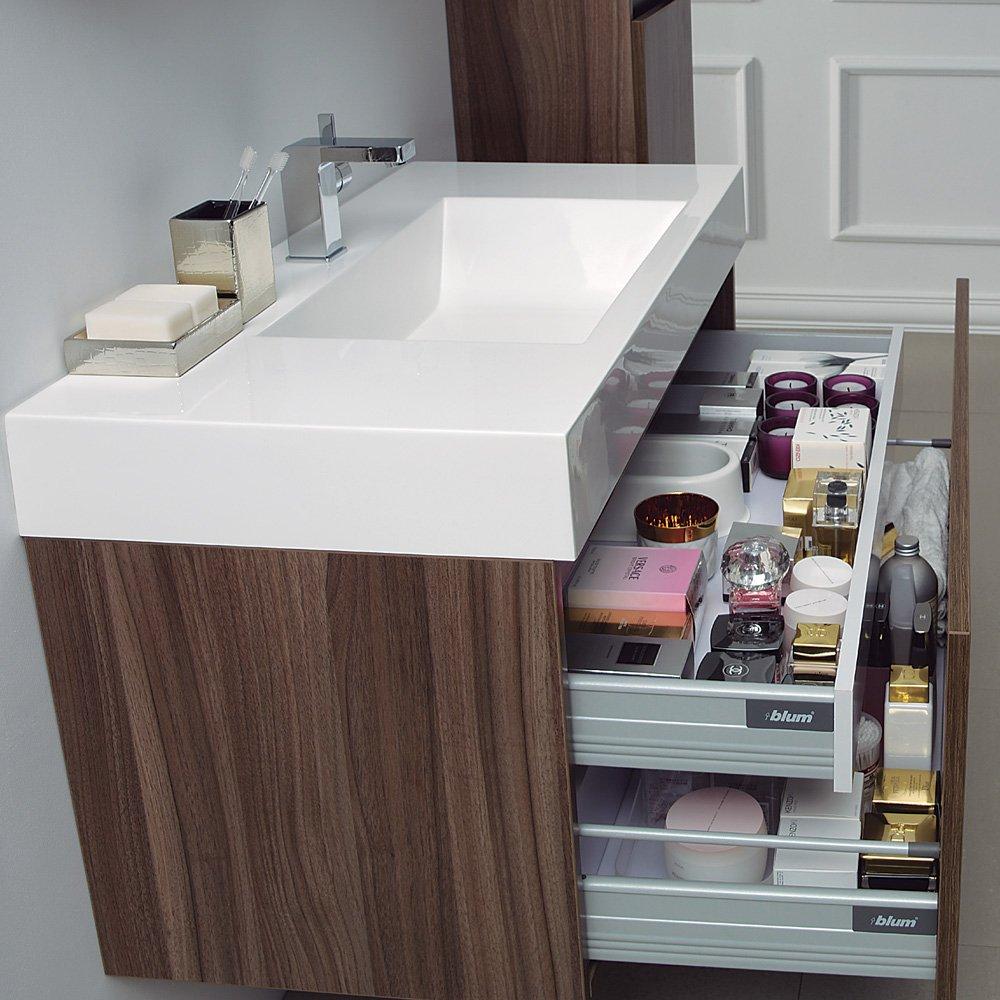 Lusso Stone Bagno Walnut Designer Bathroom Wall Mounted Vanity Unit ...