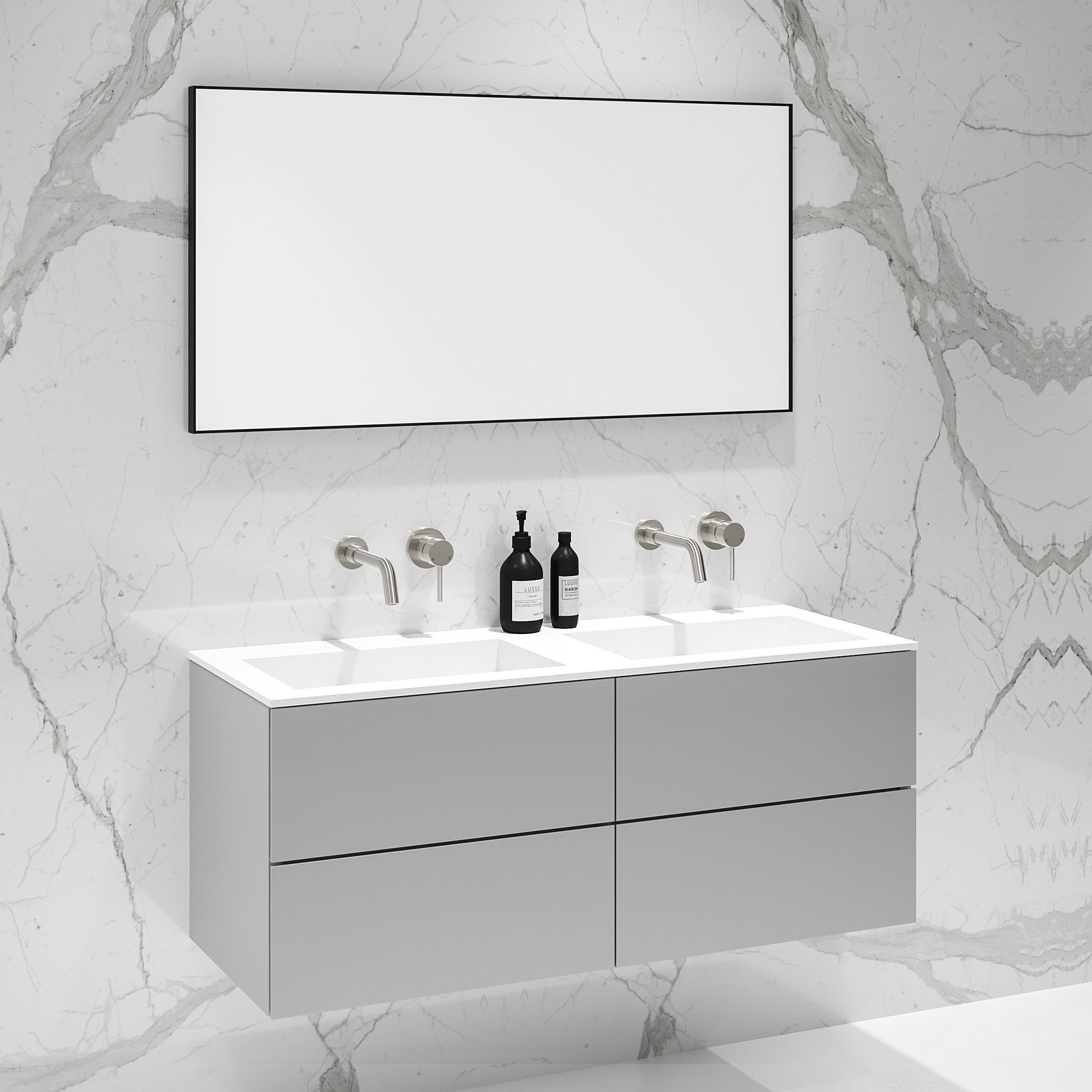 Double Vanity.Lusso Stone Celare Matte Concrete Grey Double Vanity Unit And Basin 1200