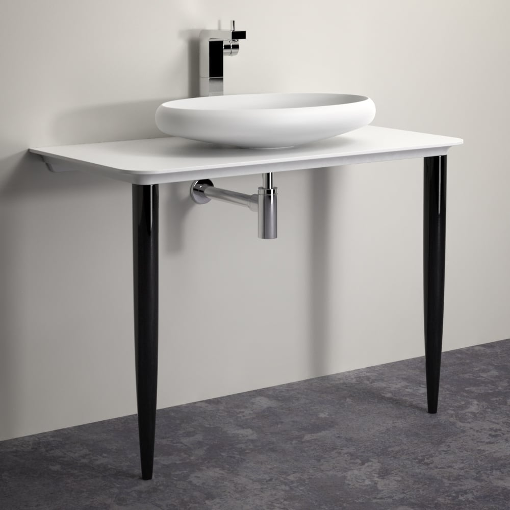 Lusso Stone Celeste Vanity Unit Shelf With Black Legs 1000