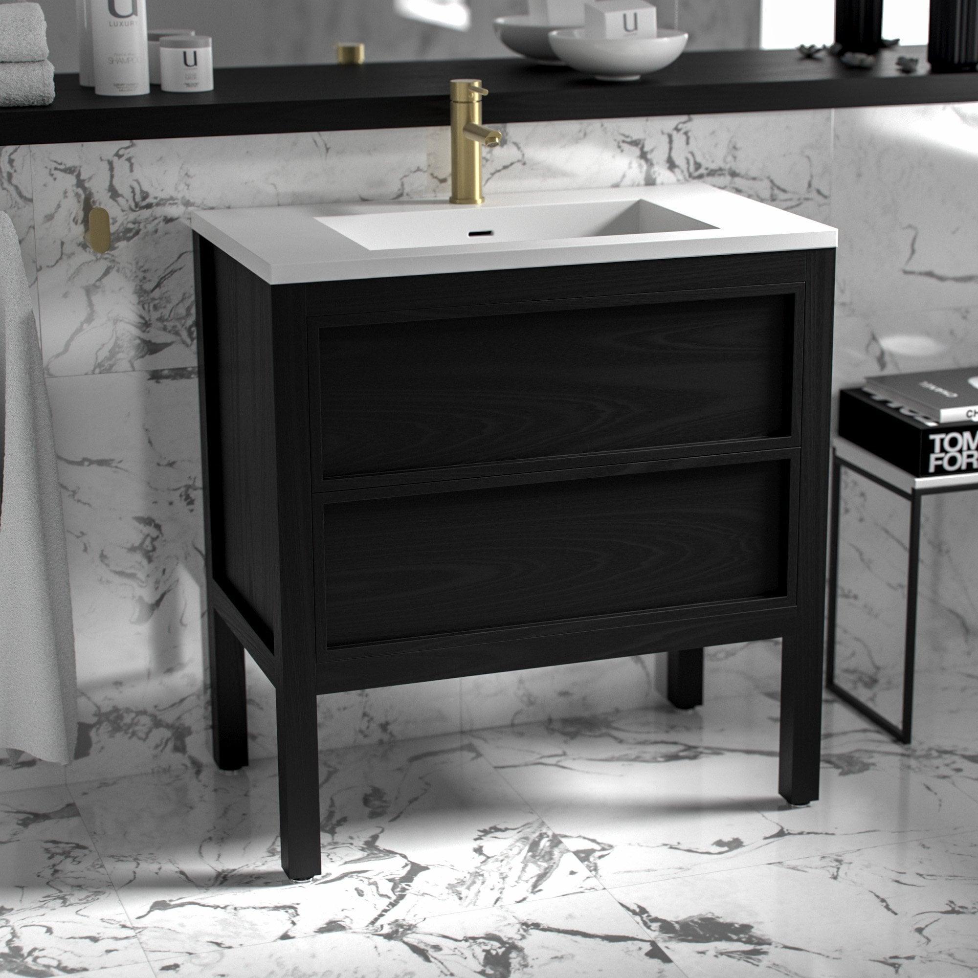Lusso Stone Claridge Black Bathroom Freestanding Vanity Unit 800