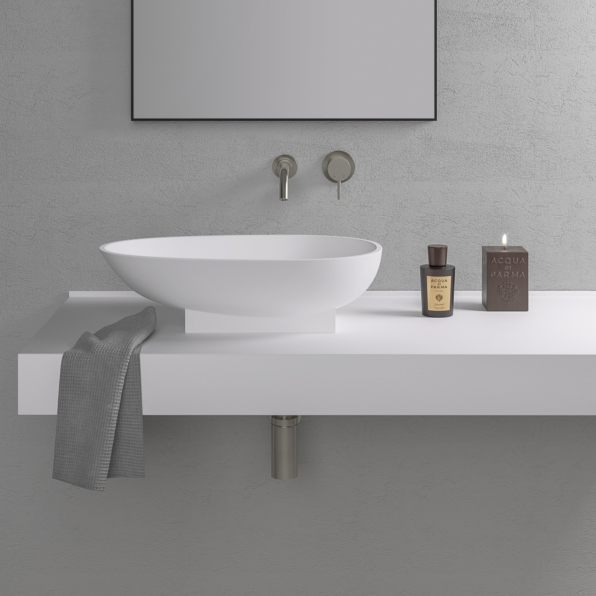 Lusso Stone Cocoon Stone Resin Counter Top Basin 600 Stone Resin Basins
