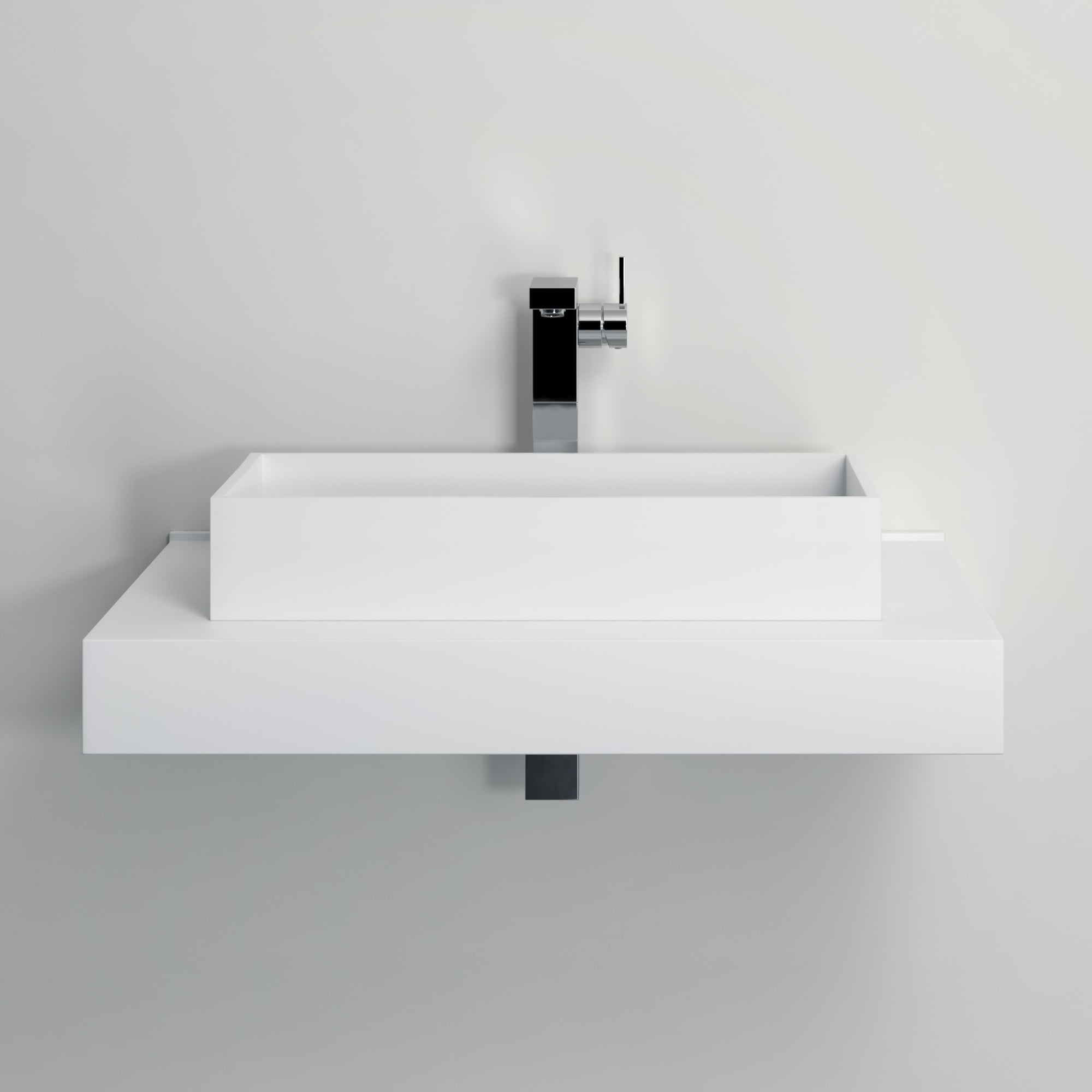 lusso stone cube solid surface stone resin counter top basin 600