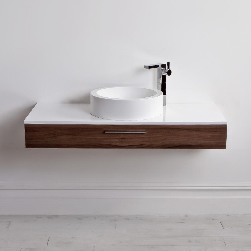 Lusso Stone Edge Slim Drawer Wall Mounted Bathroom Vanity Unit U0026 Basin 1200  | Vanity Units