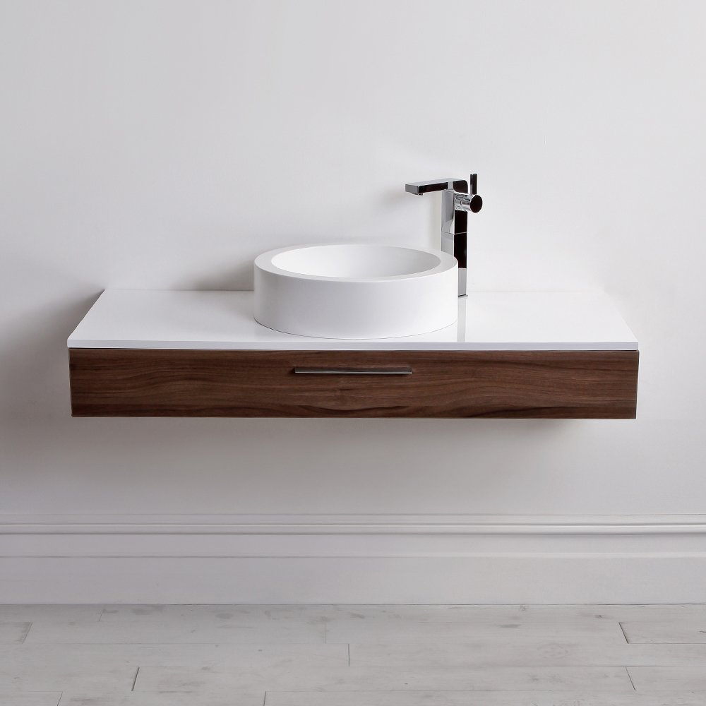 Lusso Stone Edge Slim Drawer Wall Mounted Bathroom Vanity Unit U0026amp; Basin  1200