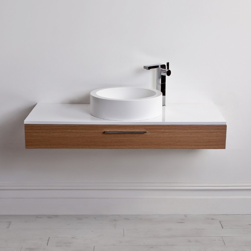 Lusso stone edge slim drawer wall mounted bathroom vanity for Wall mounted bathroom countertop