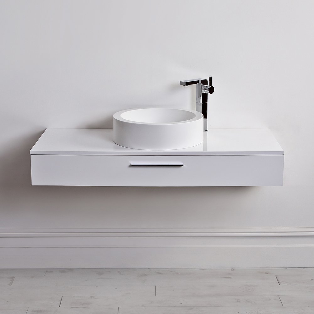 Lusso Stone Edge Slim Drawer Wall Mounted Bathroom Vanity Unit & Basin ...